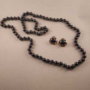 Onyx Beaded Necklace & Earrings Set